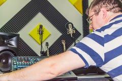 Man at recording studio royalty free stock photo