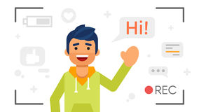 Man that records video blog. Vlog concept. Vector flat style illustration of happy blogger man that records video blog. Vlog concept Stock Photography