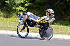 Man on  Recumbant Bicycle Royalty Free Stock Photography
