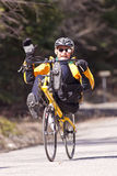 Man on recumbent bike. Royalty Free Stock Photos