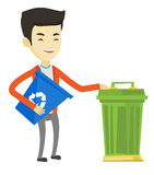Man with recycle bin and trash can. Royalty Free Stock Photos
