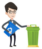 Man with recycle bin and trash can. Stock Images