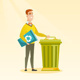 Man with recycle bin and trash can. Royalty Free Stock Image