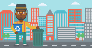 Man with recycle bins. Stock Photography