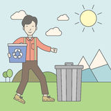 Man with recycle bins Royalty Free Stock Photos