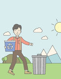 Man with recycle bins Stock Images