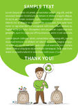 Man with recycle sign and garbage sacks for plastic bottles vector illustration vector illustration