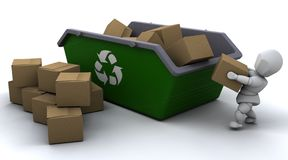 Man recycling card boxes in skip Stock Photography