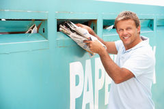 Man At Recycling Centre Royalty Free Stock Image