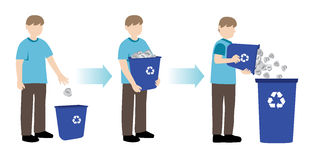 Man recycling paper. Vector illustration of man recycling paper Stock Illustration
