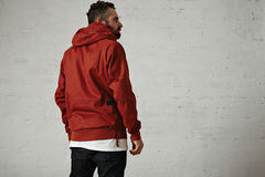 Man in a red anorak royalty free stock photography