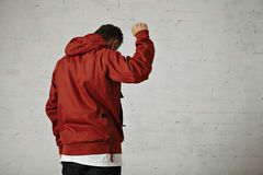 Man in a red anorak Stock Image