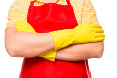 A man in a red apron ready to clean Royalty Free Stock Photos