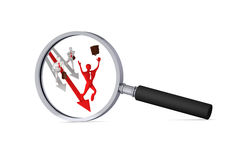 Man on red arrow and his defeated competitors. 3d man on the red arrow and his defeated competitors in the magnifier/ 3d icon Royalty Free Stock Images