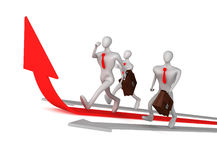 Man on red arrow and his defeated competitors. 3d man on the red arrow and his defeated competitors Stock Photography
