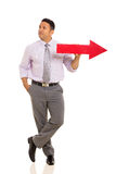 Man with red arrow Stock Images
