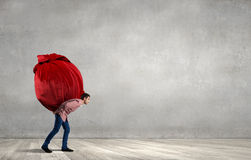 Man with red bag Royalty Free Stock Photos