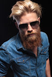 Man with red beard wearing sunglasses, posing for the camera Royalty Free Stock Photo