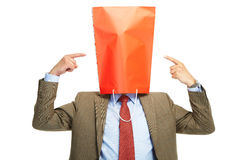 Man with a red box on a head Royalty Free Stock Photos