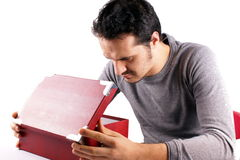 Man with red box Royalty Free Stock Image