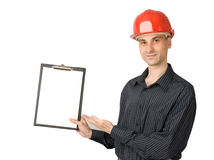 Man in a red building helmet Royalty Free Stock Photos