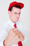 Man in red cap Stock Image