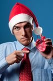 Man in red christmas hat Stock Photos