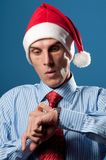 Man in red christmas hat Royalty Free Stock Image