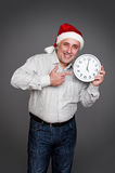 Man in red christmas hat Royalty Free Stock Photos