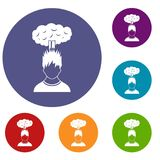 Man with red cloud over head icons set Stock Photography