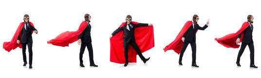 The man in red cover isolated on white. Man in red cover isolated on white Royalty Free Stock Image