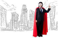 The man in red cover with skyscapers at the background Royalty Free Stock Photo