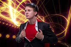 The man with red cover in super hero concept Royalty Free Stock Photos