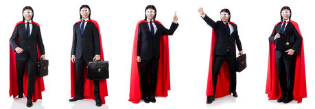 The man in red cover  on white Royalty Free Stock Images