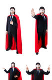 The man in red cover  on white Royalty Free Stock Photos