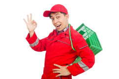Man in red coveralls Stock Photography