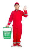 Man in red coveralls Stock Photo