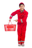 Man in red coveralls with shopping supermarket Stock Photography