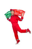 Man in red coveralls with shopping supermarket Stock Photos