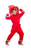 Man in red coveralls with shopping supermarket Stock Image