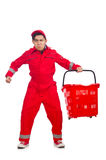 Man in red coveralls with shopping supermarket Royalty Free Stock Image