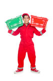 Man in red coveralls with shopping supermarket Royalty Free Stock Photos