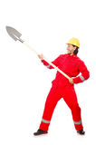 Man in red coveralls Stock Image