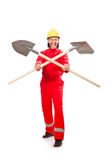 Man in red coveralls Stock Images