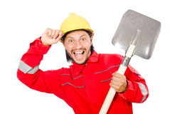 Man in red coveralls Royalty Free Stock Image