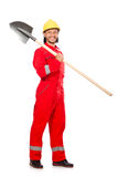 Man in red coveralls Royalty Free Stock Photography