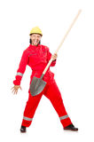 Man in red coveralls Royalty Free Stock Photos