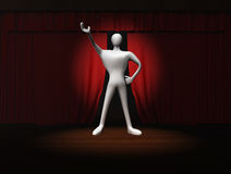 Man with red curtain and spotlight on stage Royalty Free Stock Image