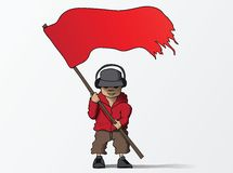 Man with red flag cartoon vector illustration. This is file of EPS10 format Stock Image
