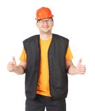 Man with red hard hat in a good mood. Royalty Free Stock Photos